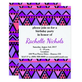 Cartão Teste padrão de ziguezague roxo, azul, cor-de-rosa