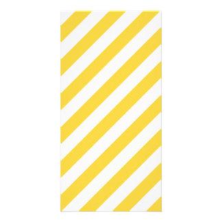 Cartão Teste padrão diagonal amarelo e branco das listras