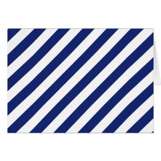 Cartão Teste padrão diagonal do azul marinho e o branco