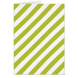 Cartão Teste padrão diagonal verde e branco das listras