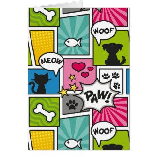 Cartão Teste padrão do animal de estimação do estilo da