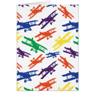 Cartão Teste padrão do avião do biplano do vintage das