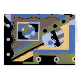 Cartão Teste padrão do Cubism do jazz de Pochoir do art