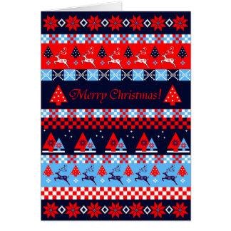 Cartão Teste padrão do Natal & texto nórdicos do costume