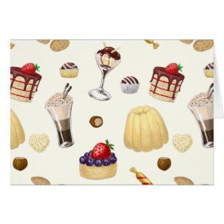 Cartão Teste padrão doce com várias sobremesas