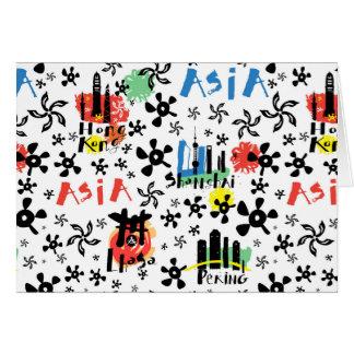 Cartão Teste padrão dos símbolos de Ásia |