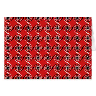 Cartão Teste padrão espiral vermelho, preto e branco do