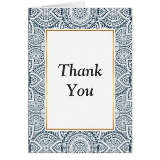 Cartão Teste padrão floral branco azul geométrico da