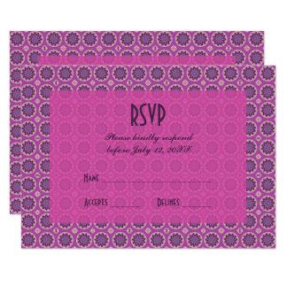 Cartão Teste padrão floral cor-de-rosa bonito RSVP