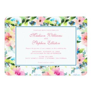 Cartão Teste padrão floral da aguarela colorida -