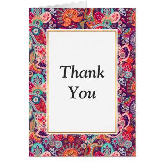 Cartão Teste padrão floral de néon cor-de-rosa de Paisley