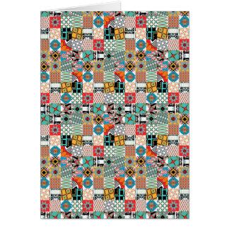 Cartão Teste padrão geométrico dos retalhos tribais Funky
