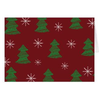 Cartão Teste padrão lunático da árvore de Natal