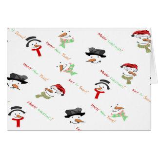 Cartão Teste padrão lunático do boneco de neve do Natal