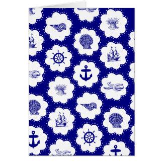 Cartão Teste padrão náutico do azul marinho e o branco