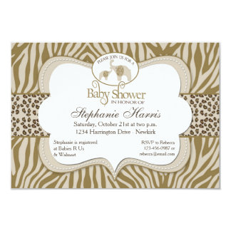 Cartão Teste padrão neutro do leopardo & da zebra do chá