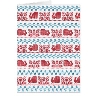Cartão Teste padrão nórdico do bordado (pavão e flores)