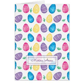 Cartão Teste padrão personalizado do ovo da páscoa da
