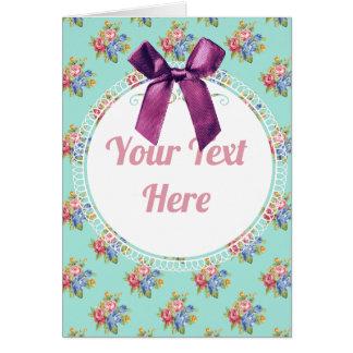 Cartão Teste padrão personalizado floral azul do arco