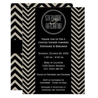 Cartão Teste padrão preto e bege do art deco de Chevron
