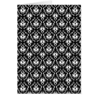 Cartão Teste padrão preto e branco à moda do damasco