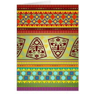 Cartão Teste padrão tribal da máscara africana brilhante