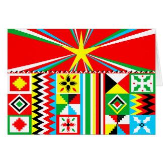 Cartão Teste padrão tribal de pano africano de Kente do