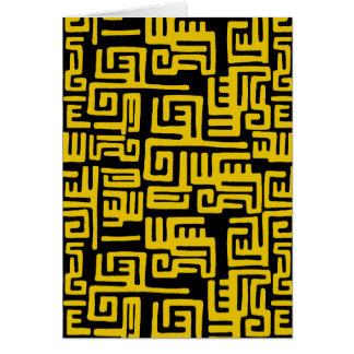 Cartão Teste padrão tribal do africano negro amarelo