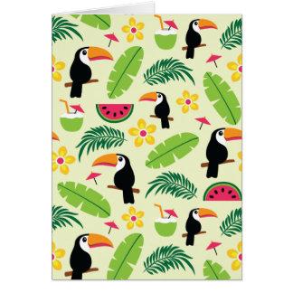 Cartão Teste padrão tropical do verão de Toucan