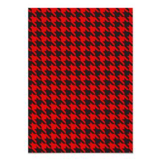 Cartão Teste padrão vermelho e preto de Houndstooth