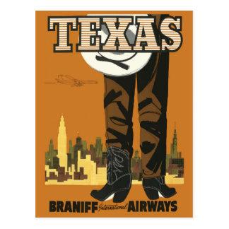 Cartão Texas das viagens vintage (design