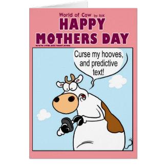 Cartão Texting com carácter de previsão no dia das mães