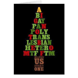Cartão Texto da árvore de Natal da diversidade