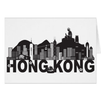 Cartão Texto da estátua de Buddha da skyline de Hong Kong