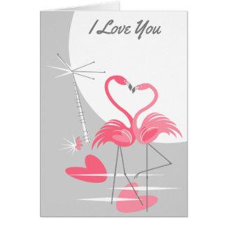 Cartão Texto da lua do amor do flamingo grande eu te amo