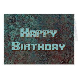 """Cartão Texto """"de cobre"""" do feliz aniversario do impressão"""