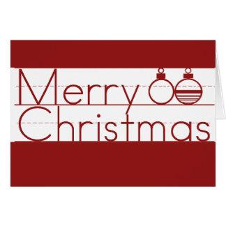 Cartão Texto do Feliz Natal com ornamento