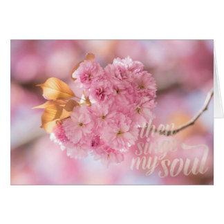Cartão Texto do primavera do ramo da flor de cerejeira