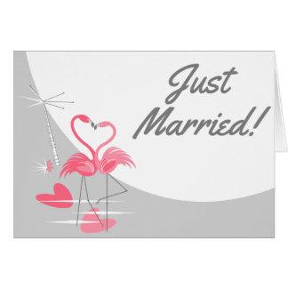 Cartão Texto do recem casados da lua do amor do flamingo