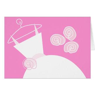 Cartão Texto do rosa do vestido de casamento horizontal