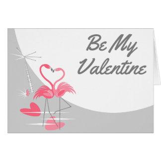 Cartão Texto dos namorados da lua do amor do flamingo