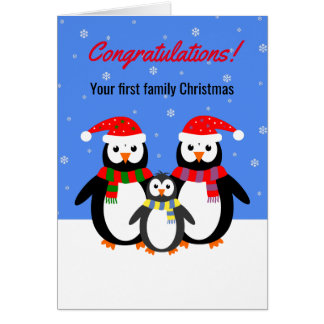 Cartão Texto editável da primeira família do pinguim do