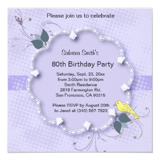 Cartão Texto roxo da festa de aniversário | DIY do 80 da