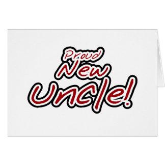 Cartão Texto vermelho e preto do tio novo orgulhoso -