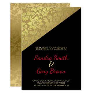 Cartão Textura floral do damasco do ouro