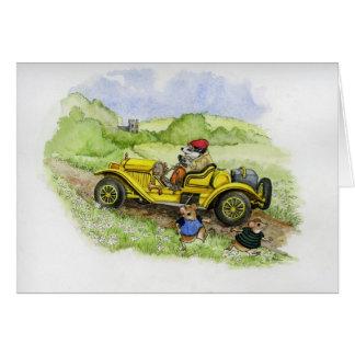 Cartão Texugo de Bertie em seu automóvel novo