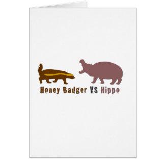 Cartão Texugo de mel contra o hipopótamo