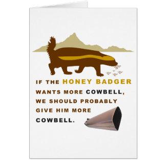 Cartão Texugo de mel mais Cowbell