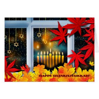 Cartão Thanksgivukkah feliz. Hanukkah e acção de graças