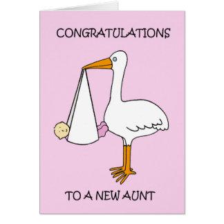 Cartão Tia nova Parabéns (bebé).